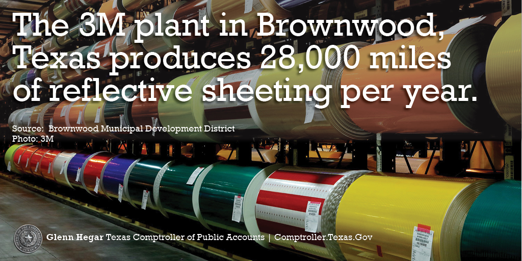 The 3M plant in Brownwood, Texas produces 28,000 miles of reflective sheeting per year.
