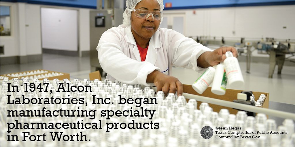 In 1947, Alcon Laboratories, Inc. began manufacturing specialty pharmaceutical products in Fort Worth.