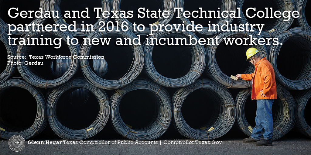Gerdau and Texas State Technical College partnered in 2016 to provide industry training to new and incumbent workers. Source: Texas Workforce Commission. Photo: Gerdau