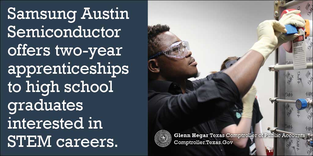 Samsung Austin Semiconductor offers two-year apprenticeships to high school graduates interested in STEM careers