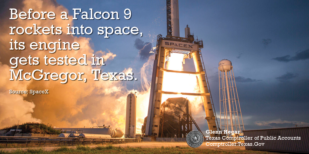 Before a Falcon 9 rockets into space, its engine gets tested in McGregor, Texas.