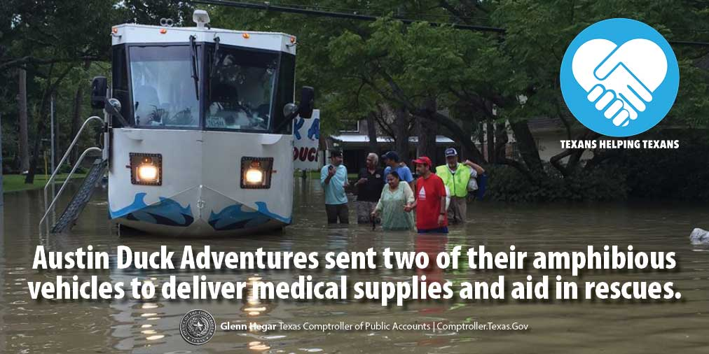 Texans Helping Texans: Austin Duck Adventures sent two of their amphibious vehicles to deliver medical supplies and aid in rescues.