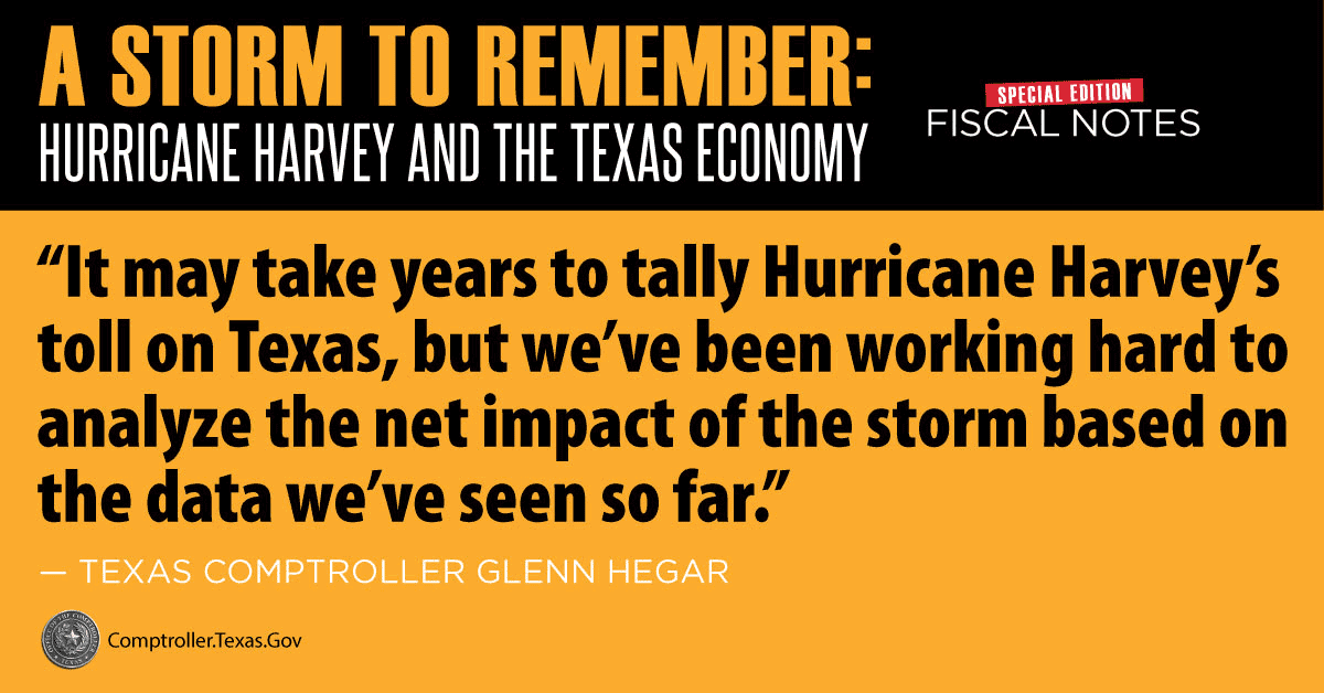It may take years to tally Hurricane Harvey's toll on Texas, but we've been working hard to analyze the net impact of the storm based on the data we have so far. - Glenn Hegar, Texas Comptroller of Public Accounts
