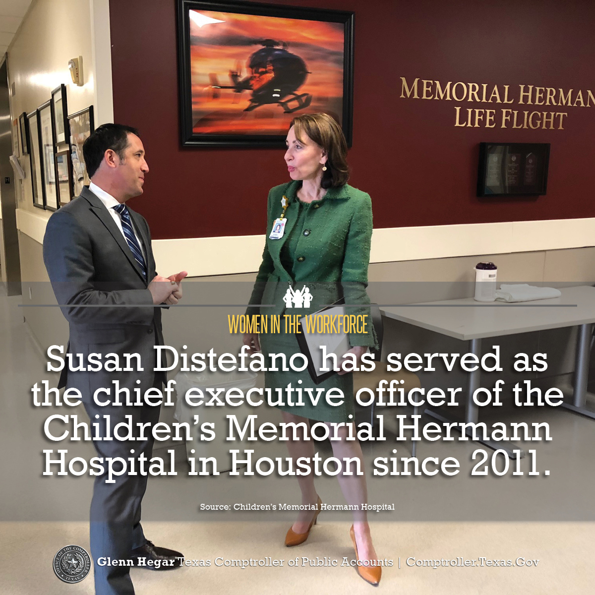 Women in the Workforce -  Susan Distefano has served as the chief executive officer of Children's Memorial Hermann Hospital in Houston since 2011.  Source:Children's Memorial Hermann Hospital