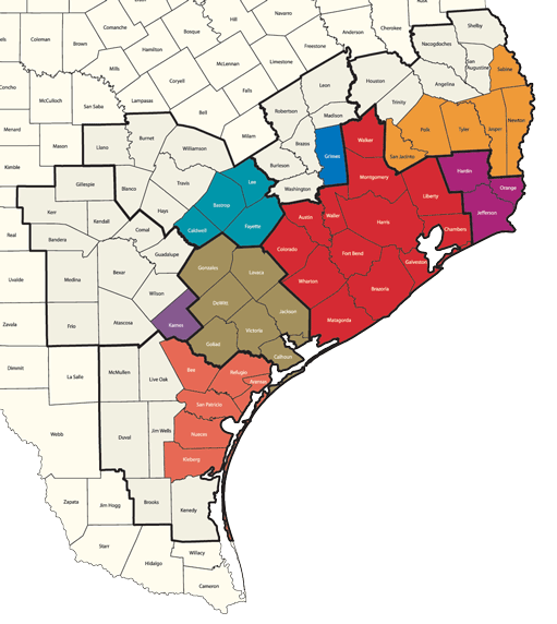 Map showing the counties affected by Harvey.  Counties are listed below.