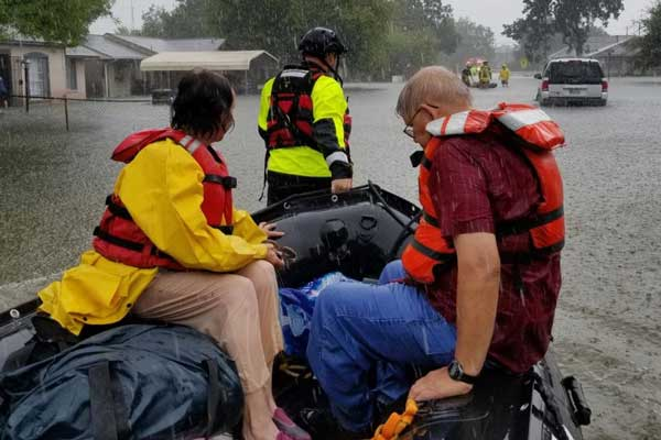 Rescuing flood victims after Harvey.