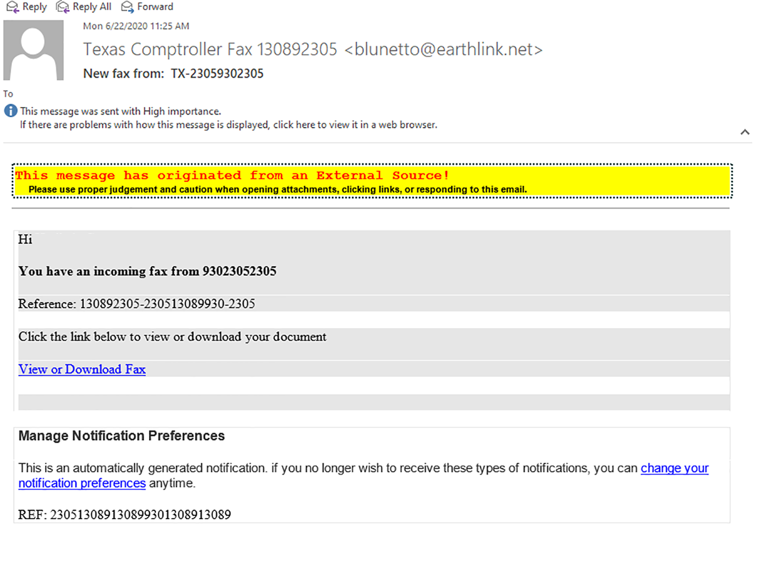 example of spoofed email