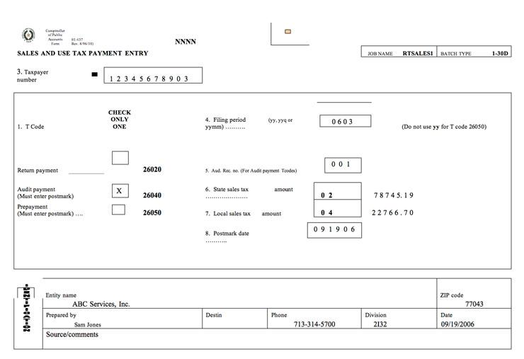 Auditing Fundamentals – Sales Tax Worksheet