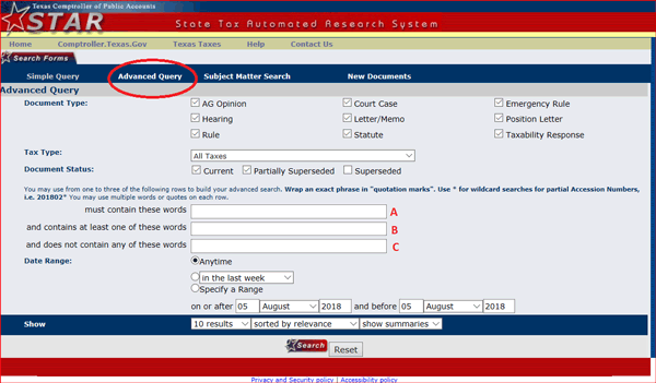 Screenshot of STAR Search Form